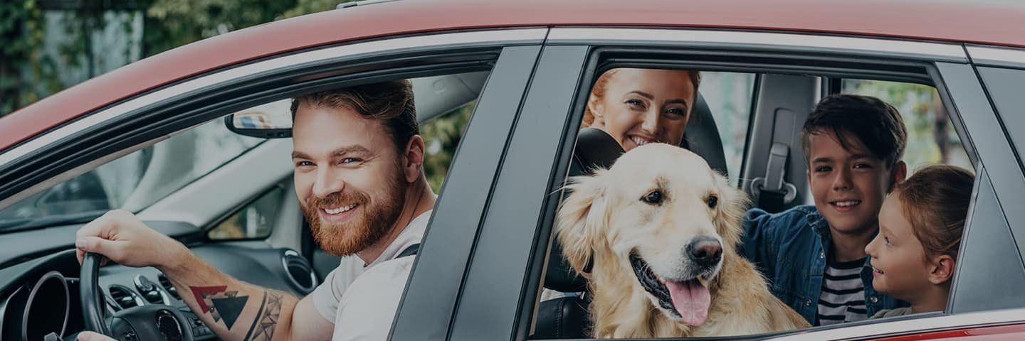 Man, woman, and dog in red car