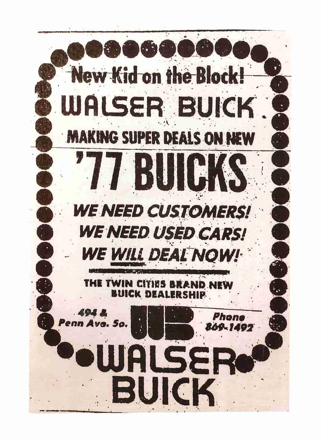 Walser Buick Ad from 1976