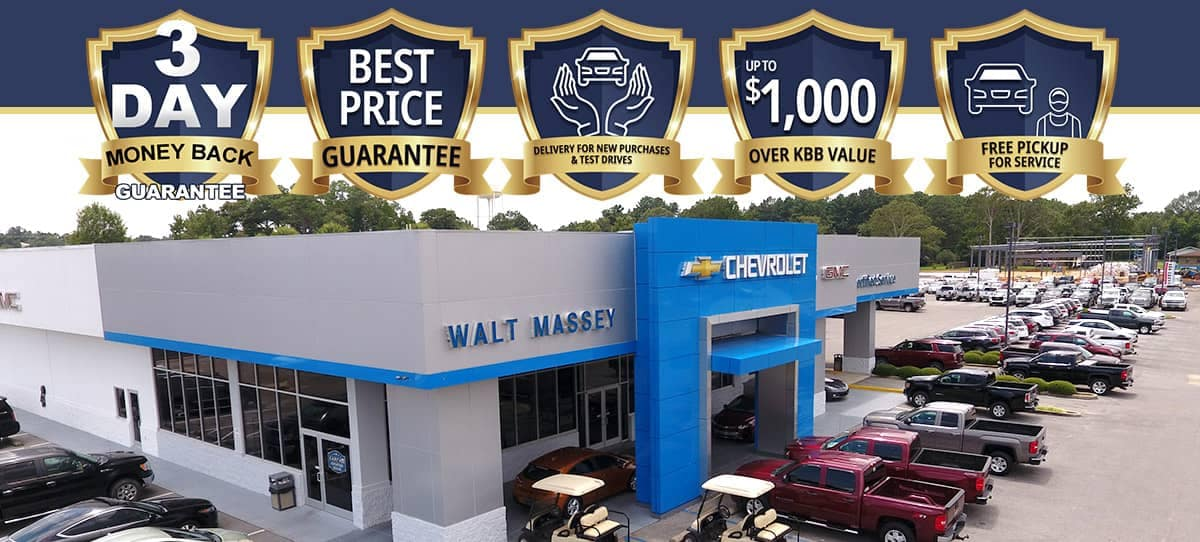 dealership from above with awards