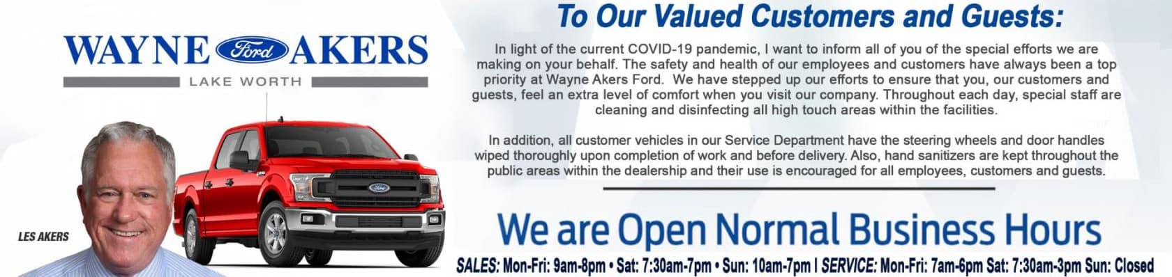 Wayne Akers Ford is Open for you