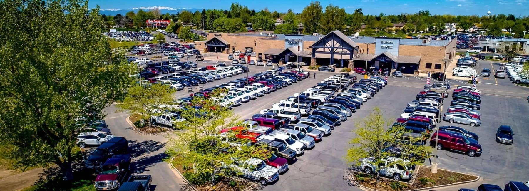 aerial view of the dealership during the day