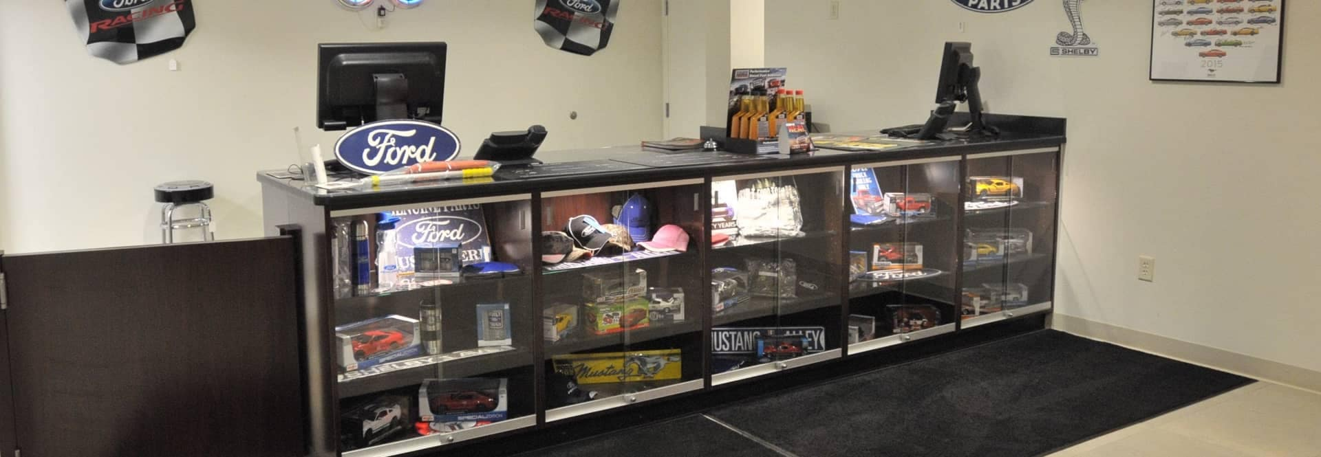 A display of Ford parts