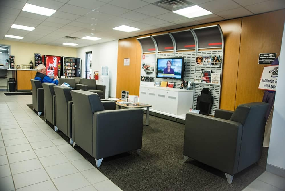 west Herr Nissan Lockport service waiting room