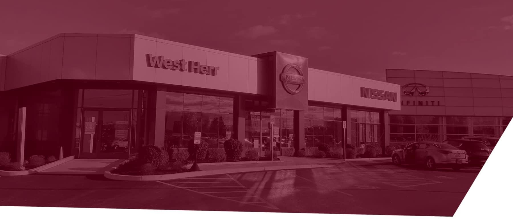 west herr nissan dealership red overlay