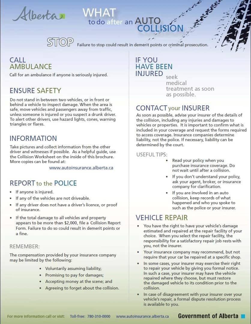 info-graphic from the Alberta Government for tips on what to do after a collision