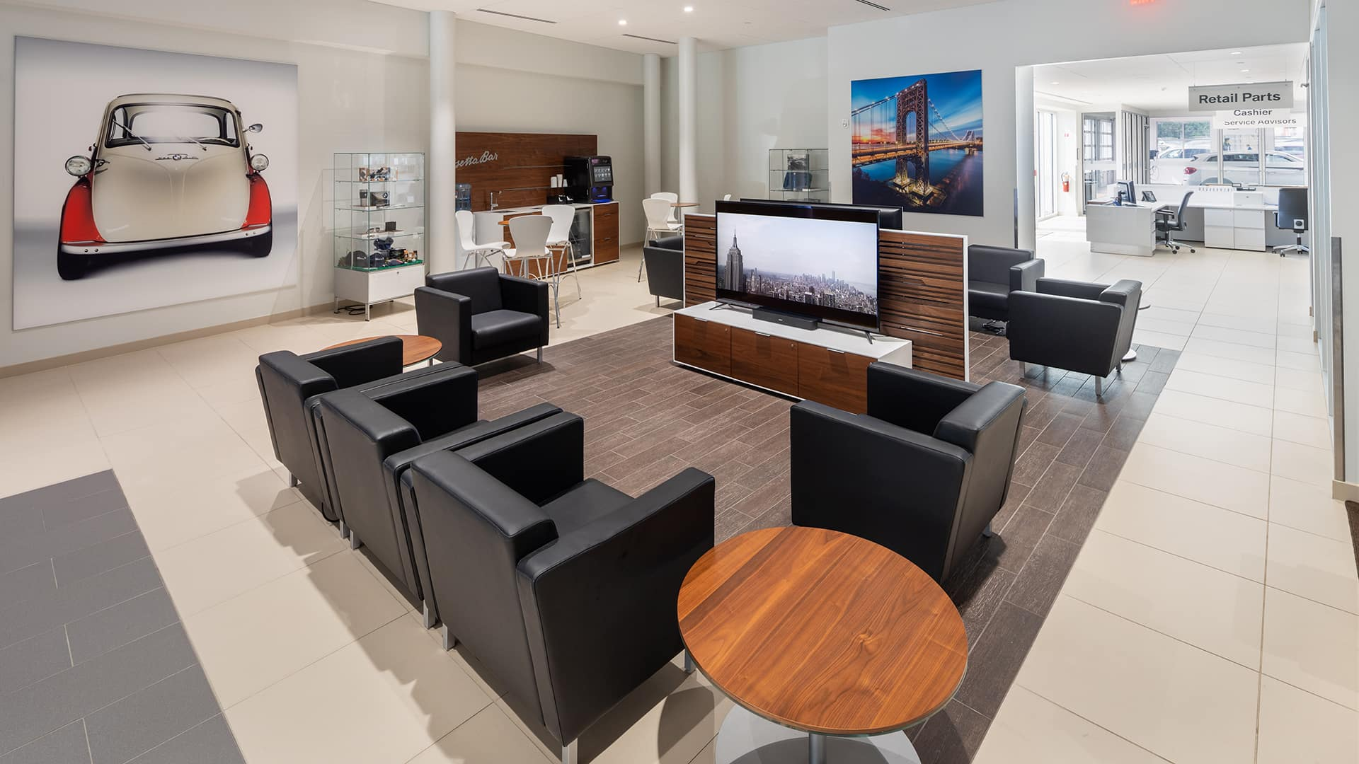 interior view of Wide World BMW waiting area