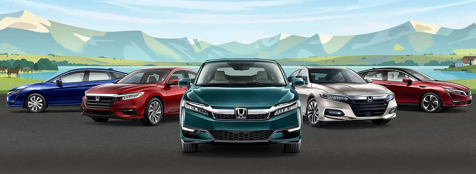 SEO image of Honda vehicles in a line