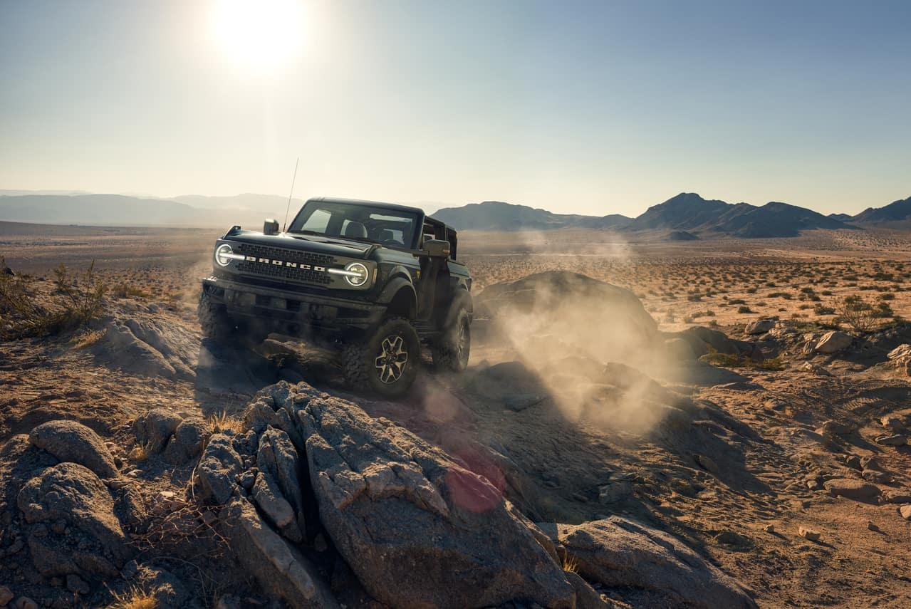 Bronco on rocks